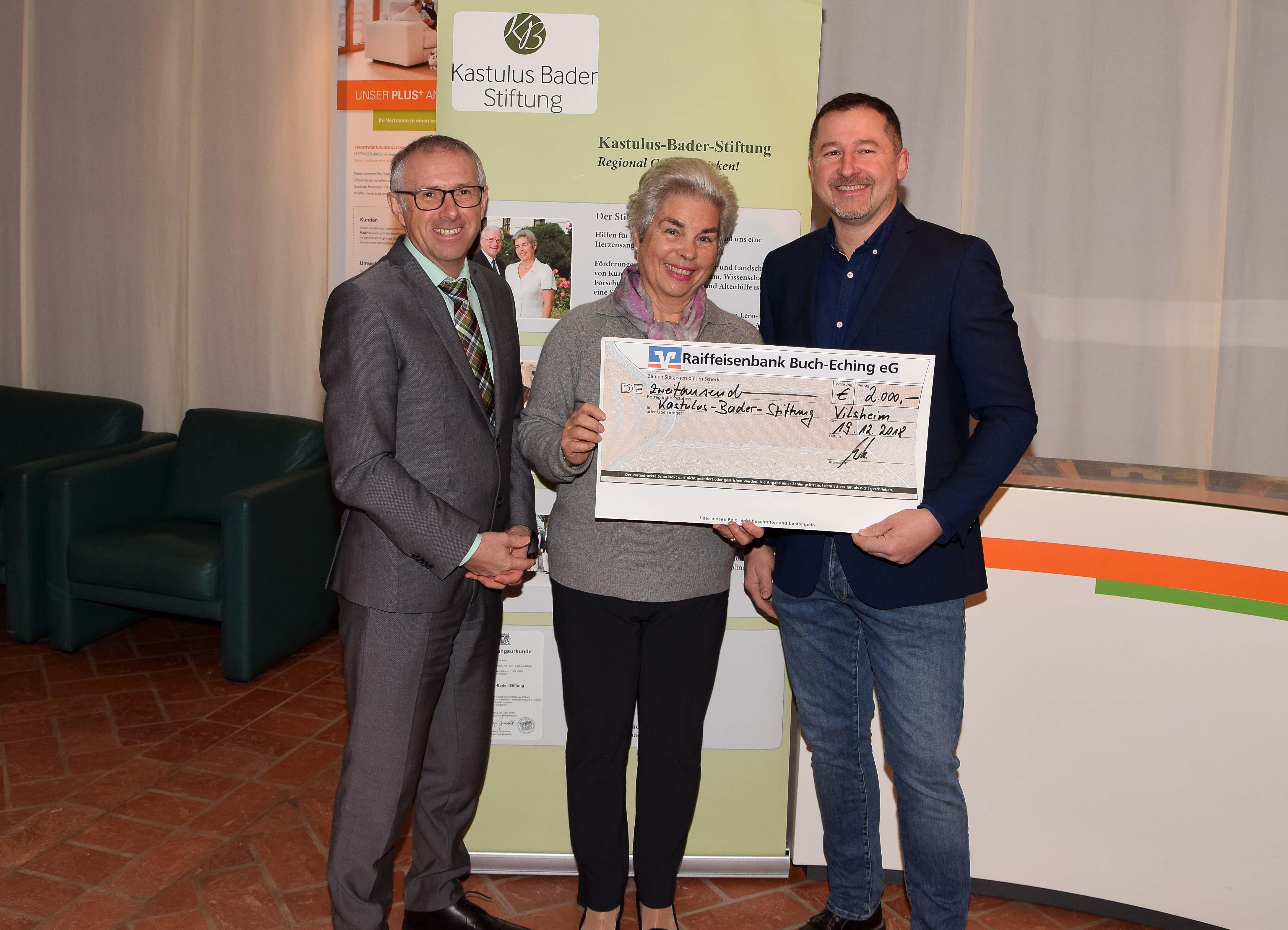 Elektro Scheubeck spendet 2.000 Euro an die Kastulus-Bader-Stiftung